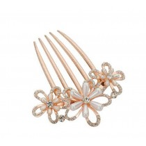 European Style Hair Comb Metal Flower Bead Rhinestones Hair Decoration