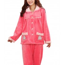 Women's Warm Cozy CORAL FLEECE Pajama Set PINK, XL (Asian Size)