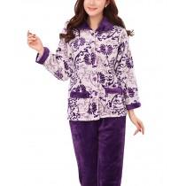 Women's Warm Cozy CORAL FLEECE Pajama Set PURPLE, XXL (Asian Size)