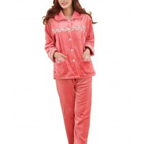 Women's Warm Cozy CORAL FLEECE Lace Pajama Set, XL (Asian Size)