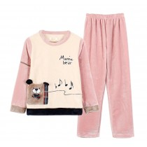 [Music Bear] Lovely Girl's Warm Flannel Pajama Set, XL (Asian Size)