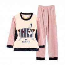 [Cute Cow] Lovely Girl's Warm Flannel Pajama Set, XL (Asian Size)