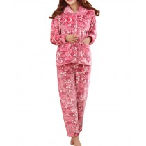 [White Flowers] Fashion Soft Warm Coral Fleece Pajama Set, L (Asian Size)