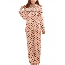 [Polka Dot] Fashion Soft Warm Coral Fleece Pajama Set, L (Asian Size)