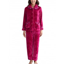 Fashion Soft Warm Coral Fleece Pajama Set ROSE, XL (Asian Size)