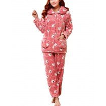 [Pink Mood] Fashion Soft Warm Coral Fleece Pajama Set, L (Asian Size)
