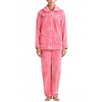 Autumn Winter Ladies Nightwear Watermelon RED Flannel Pajama Set, Medium