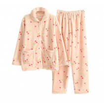Cute Pink Cherry Coral Fleece Pajama Set for Women, Medium