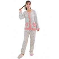 Light BLUE Heart Shape Flannel Pajama Set for Women, Medium