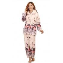 Thick Pajama Set for Women Grey Floral Print Sleepwear, Large (Asian Size)