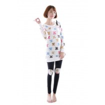 Cute Bear Patchwork Pajama Set for Women , M