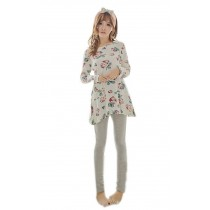 Georgeous Long Sleeve Rose Pajama Set , M