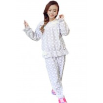 Cute Lilac Heart Bow Knot Sleepwear Set Women, Medium