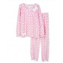 Cute Pink Heart Bow Knot Pajama Set Women, Medium