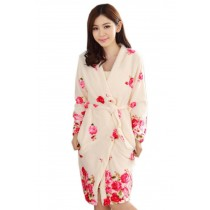 Fashion Rose Fleece Robes for Women, 2Pcs Robe & Sleep Skirt