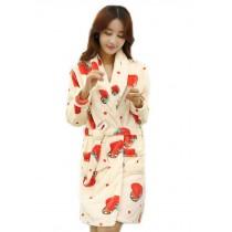 Cute Strawberry Bathrobe for Women, Winter Fleece Sleepwear, M
