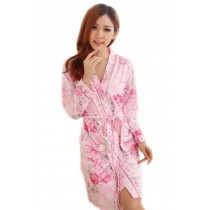 Floral Print Bathrobe for Women, 2 Pcs Robe with Dress , M