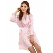 2 Pcs Silk Sleepwear for Women Pink Embroidery Floral Robe, M