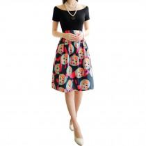 Elegant Women Pleated Vintage Skirts Floral Print Midi Skirt, Figure