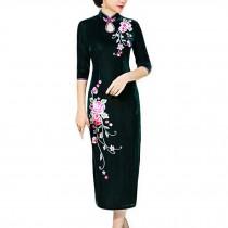 Thin Velvet Cocktail Dress Chinese Dress Oriental Dress Party Dress Cheongsam