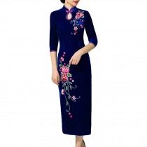 Chinese Dress Thin Velvet Dress Cocktail Dress Cheongsam Dress Qipao Dress