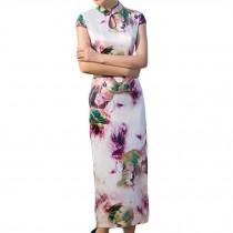 Flora Chinese Style Cheongsam Dress Cap Sleeve Qipao Dress Bodycon Long Dress