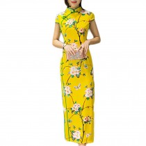 Bright Cheongsam Dress Chinese Traditional Dress Cocktail Dress Side Slits Dress