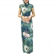 Elegant Cheongsam Dress Chinese Traditional Dress Mandarin Collar Cap Sleeve