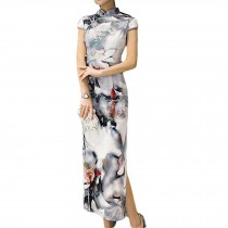 Cocktail Dress Long Qipao Dress Cap Sleeve with Side Slits Chinese Cheongsam