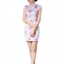 Flora Retro Oriental Dress Short Chinese Traditional Dress Cheongsam Qipao