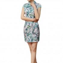 Green Chinese Traditional Dress Cheongsam Dress Cap Sleeve Qipao with Side Slits