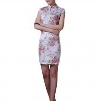 Elegant Cheongsam Dress Mandarin Collar Chinese Dress Qipao Side Slits Dress