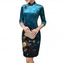 Short Cheongsam Dress Thin Velvet Cocktail Dress Chinese Qipao Modern Cheongsam