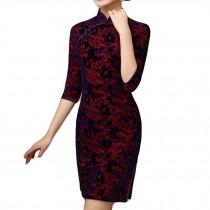 Jacquard Short Cheongsam Dress Retro Oriental Dress Chinese Traditional Dress