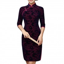 Short Velvet Dress Thin Cocktail Dress Jacquard Cheongsam Dress Party Dress Qipa