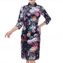 Flora Velvet Dress Chinese Traditional Dress Cheongsam Dress Qipao Oriental Dres