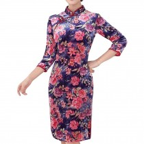 Mandarin Collar Flora Cheongsam Velvet Dress Bodycon Qipao Short Chinese Dress