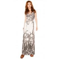 Retro Patterned V-Neck White Dress for Summer Medium