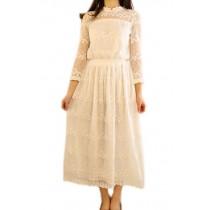 Chic Embroidery White Dress, 3/4 Sleeve Long Dress for Women, Medium