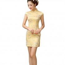 Elegant Small Flowers Design Cheongsam Short Cheongsam Dress(Yellow, Large)