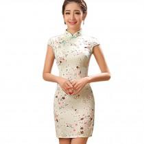 Elegant Small Flowers Design Cheongsam Short Cheongsam Dress(Large)