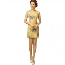 Women Chinese Flowers Pattern Cheongsam Qipao One Piece Dress(Yellow,Large)