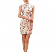 Elegant Slim Peach Blossom Pattern Cheongsam Qipao One Piece Short Dress(Large)
