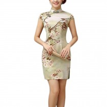 Elegant Slim Chinese Cheongsam Qipao One Piece Short Dress Skirt(Large)