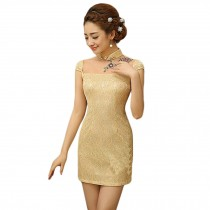 Elegant Slim Lace Cheongsam Qipao One Piece Short Dress Skirt(Yellow,Large)