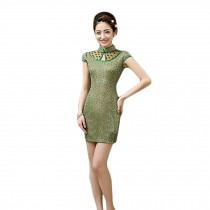 Elegant Slim Lace Cheongsam Qipao One Piece Short Dress Skirt(Green,Large)