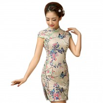 Elegant Slim Cheongsam Retro Qipao One Piece Short Skirt(Large)