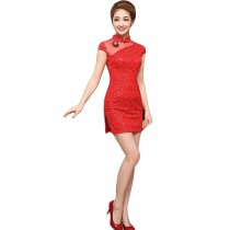 Elegant Slim Cheongsam Traditional Wedding Dress Cheongsam(Red,Large)