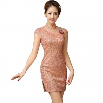 Elegant Slim Cheongsam Traditional Wedding Dress Cheongsam(Pink,Large)