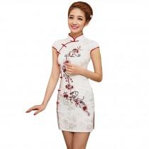 Elegant Slim Cheongsam Short Sleeve Cheongsam Qipao(Red Flowers,Large)